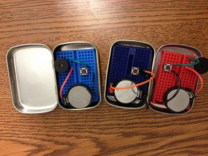 Breadboarded circuits in Altoid mint tins.